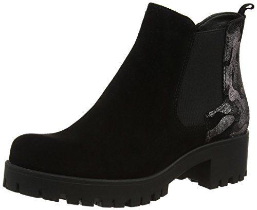 Tamaris Damen 25435 Chelsea Boots, Schwarz (Blk/Blk Metal), 39 EU