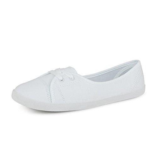 best-boots Damen Ballerinas Sneaker Schnürer Slipper Halbschuhe Sportlich Weiß 1335 Größe 39