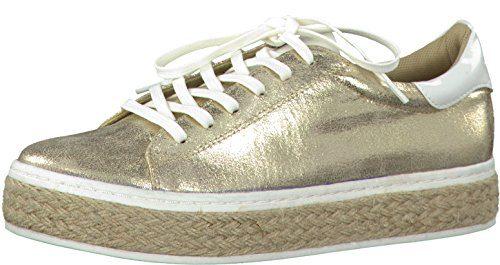s.Oliver 5-5-23626-20 Modischer Damen Freizeitschuh, Sneaker, Plateau Sneaker, Schnürhalbschuh in Metallic Optik, Bastrand, Weiches Soft Foam Fußbett Metallic (Gold Metallic), EU 39