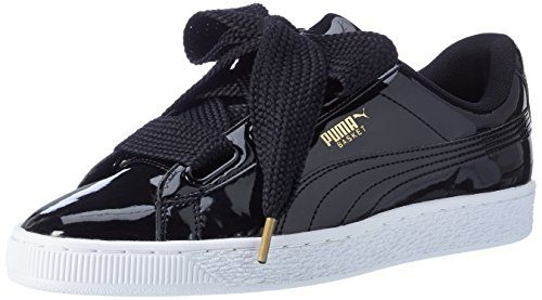 Puma Damen Basket Heart Patent Low-Top Sneaker, Schwarz Black, 42 EU