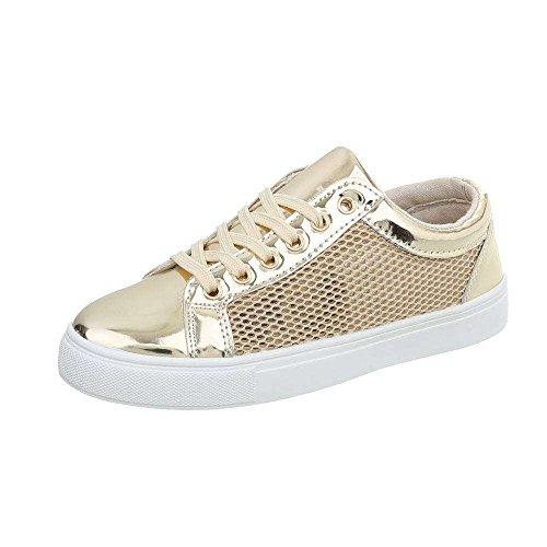 Damen Sneaker Atmungsaktive Leichte und Bequeme Sneaker Schnür-Schuhe Freizeitschuh Modern (39, Gold)