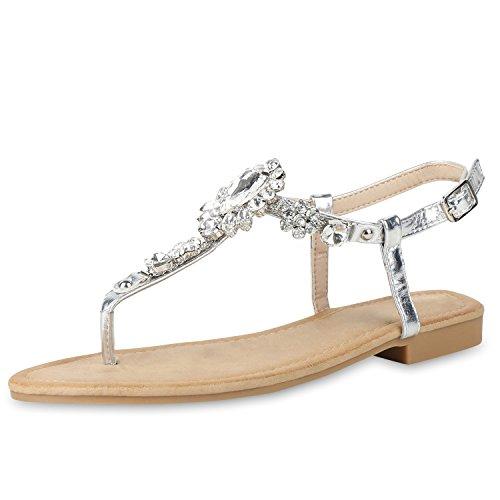 SCARPE VITA Damen Sandalen Zehentrenner Ketten Strass Sommer Schuhe Flats 156777 Silber 38