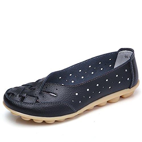 SCIEU Damen Mokassin Bootsschuhe Hohl Leder Loafers Schuhe Flache Fahren Halbschuhe Slippers, Schwarz 36