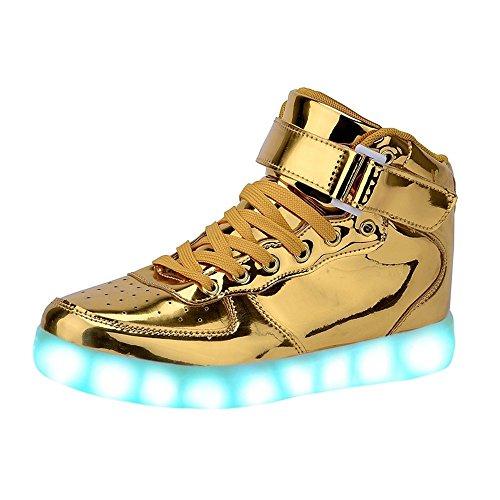Aidonger Unisex Erwachsene High-Top LED Schuhe Sneaker Sportschuhe USB Lade Outdoor Leichtathletik beiläufige Paare Schuhe(EU 36, Gold)