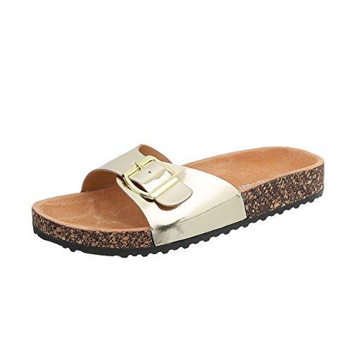 Ital-Design Pantoletten Damen-Schuhe Leichte Sandalen Sandaletten Gold, Gr 36, Ku-6-