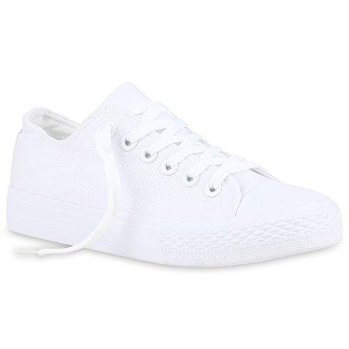 Stiefelparadies Damen Schuhe Sneakers Low Canvas Schuhe Turnschuhe Freizeit 123351 All Weiss Weiss 41 Flandell