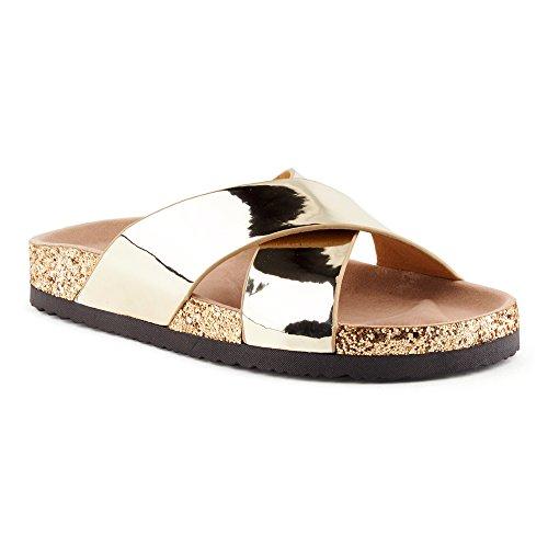 Fusskleidung Damen Sandalen Lack Glitzer Komfort Sandaletten Metallic Schlappen Zehentrenner Hausschuhe Pantoletten Köln-Gold EU 37