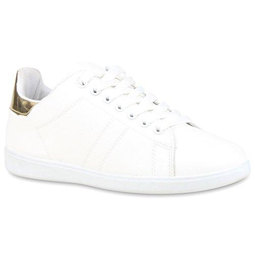 Sportliche Damen Sneakers Sneaker Low Lack Retro Flats Schnürer Animalprints Veloursleder-Optik Schuhe 109718 Weiss Gold 37 Flandell