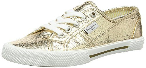 Pepe Jeans London Aberlady Metal, Damen Sneakers, Gold (099GOLD), 38 EU