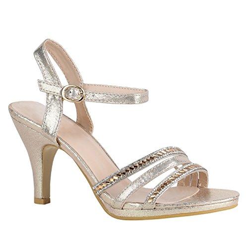 Damen Schuhe Lack Sandaletten T-Strap Metallic Riemchensandaletten 156115 Gold Agueda 40 Flandell