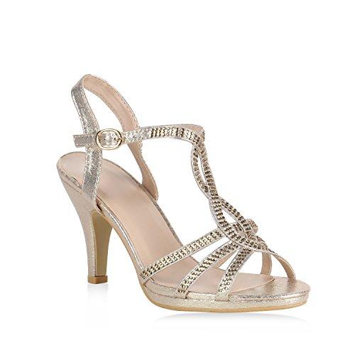 Stiefelparadies Damen Riemchensandaletten Sandaletten High Heels Glitzer Schuhe 154407 Gold 36 Flandell