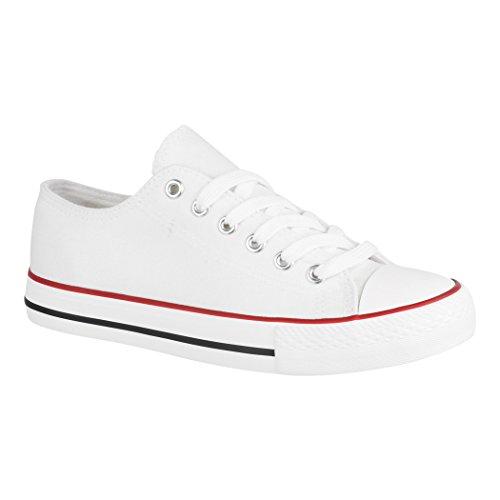 Elara Unisex Sneaker | Bequeme Sportschuhe für Herren und Damen | Low Top Turnschuh Textil Schuhe 36-46 B-YD3230-Weiss-39