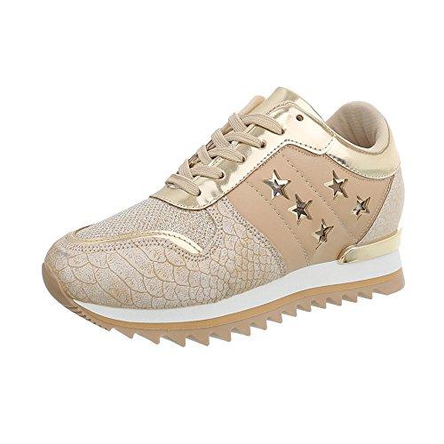 Ital-Design Sneakers Low Damen-Schuhe Keilabsatz/Wedge Schnürsenkel Freizeitschuhe Gold, Gr 39, G-127-