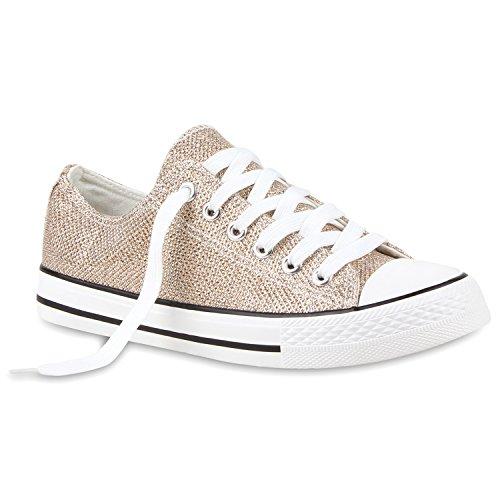 Damen Sneakers Turn Freizeit Low Sneaker Übergrößen Prints Glitzer Denim Schuhe 114909 Gold 38 Flandell