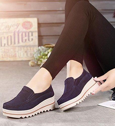 Damen Mokassins Plateau Wildleder Schlupf Loafers Halbschuhe Sneaker mit Keilabsatz 5cm Schwarz Blau Khaki 35-42 Blau 37