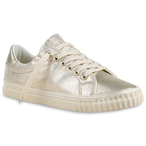 Glänzende Damen Sneakers Glitzer Metallic Sneaker Low Pailletten Flats Turn Leder-Optik Schuhe 133612 Gold Gold Metallic 40 Flandell
