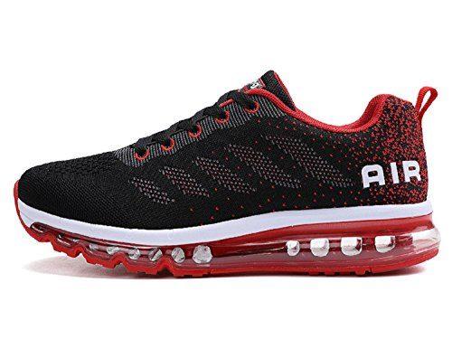 tqgold Unisex Herren Damen Sportschuhe Laufschuhe mit Luftpolster Turnschuhe Profilsohle Sneakers Leichte Schuhe (Schwarz Rot,39 EU)