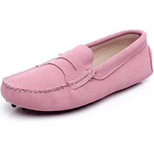 Generic Damen Mode Schlüpfen Mokassins Beiläufig Wildleder Halbschuhe Schuhe 24208(Rosa,EU36)
