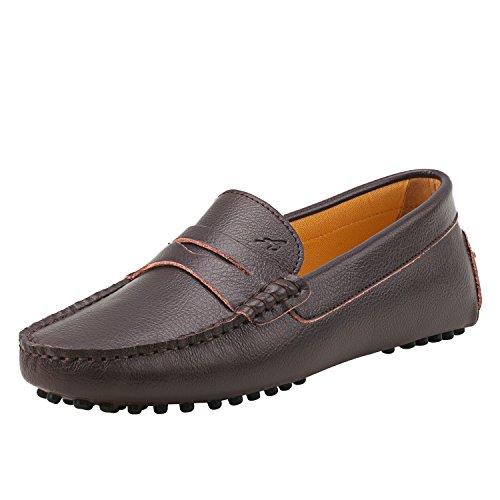 Shenduo Damen Driving Mokassin Leder Schuhe Casual Slipper Freizeit Sommer Schuhe D7052 Kaffee 37