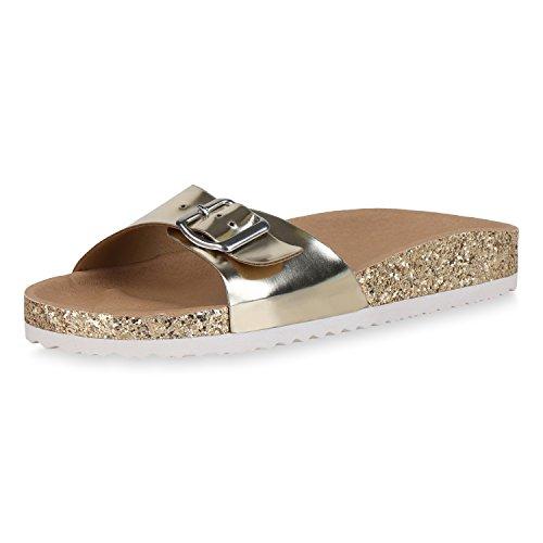 SCARPE VITA Damen Sandalen Lack Pantoletten Glitzer Hausschuhe Sommer Schuhe 162512 Gold Lack 36