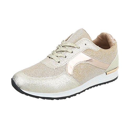 Ital-Design Sneakers Low Damen-Schuhe Sneakers Low Sneakers Schnürsenkel Freizeitschuhe Gold, Gr 38, G-13-
