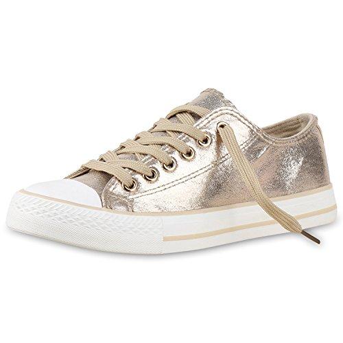 Bequeme Unisex Sneakers Low-Cut Modell Basic Freizeit Viele Farben Damen Sneakers Gold Metallic Weiss 38