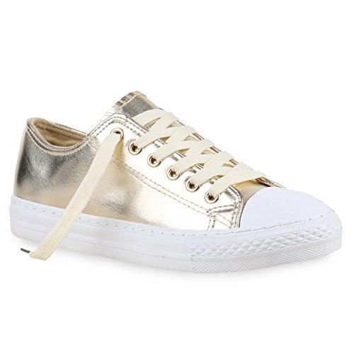 Stiefelparadies Damen Sneakers Mehrfarbig Metallic Turn Sneaker Low Freizeit Flats Glitzer Schuhe 130111 Gold Metallic 40 Flandell
