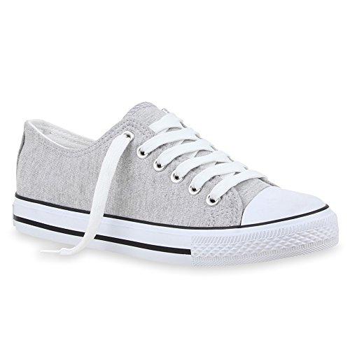 Stiefelparadies Sportliche Damen Low Sneakers Bequeme Freizeit Schuhe 69819 Hellgrau Agueda 38 Flandell