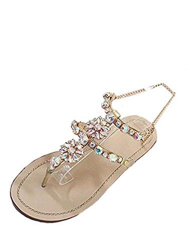 Knöchelriemchen Damen Offene Sandale T-Spange Sandals Sommer Schnallen Sandalen Bohemia Sandalen Schuhe Strandschuhe Low Schuhe Römersandalen Hausschuhe Schuhe Fashion Abendschuhe LMMVP (38, Gold)