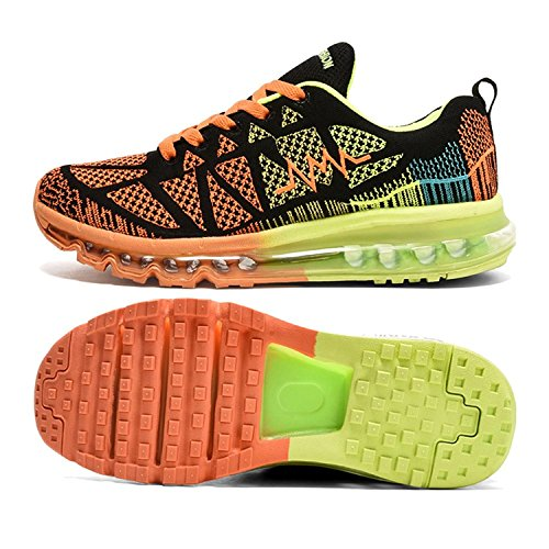 T-Gold Herren Damen Sneaker Laufschuhe Bequeme Atmungsaktiv Air Turnschuhe Fitness Sportschuhe (EU 40,Schwarz Orange)