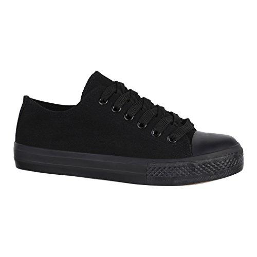 Elara Unisex Sneaker | Bequeme Sportschuhe für Herren und Damen | Low Top Turnschuh Textil Schuhe 36-46 B-YD3230-Allblack-38