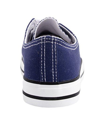 Elara Unisex Sneaker   Bequeme Sportschuhe für Damen und Herren   Low Top Turnschuh Textil Schuhe 36-46 A-YD3230-Blau-39