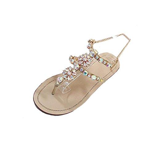 Bohemian Sandalen Damen,❤️Absolute Frauen Große Größe Perlen Pantoffeln Sommer Neue Flip-Flops Scheinen Strass Strandschuhe T-Riemen Bequeme Schuhe Elegante Flache Clogs (EU:38/CN:39, Gold)
