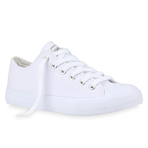 Damen Sneakers Sportschuhe Schnürer Schuhe 112589 Weiss Weiss Ambler 38 Flandell