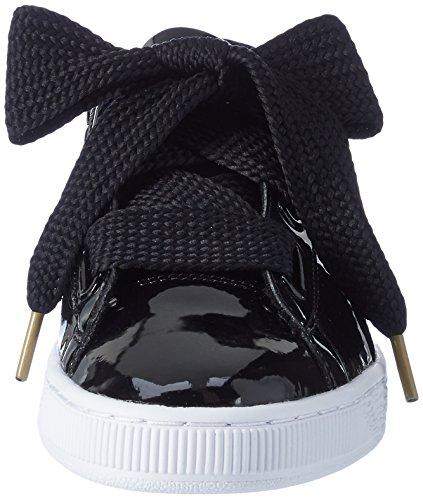 Puma Damen Basket Heart Patent Low-Top Sneaker, Schwarz Black, 42 EU