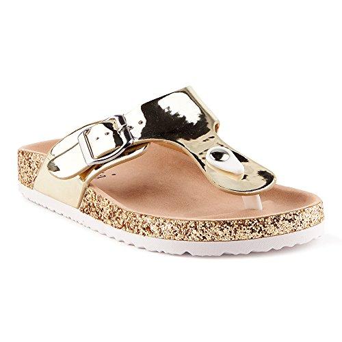 Fusskleidung Damen Riemchen Komfort Sandalen Sandaletten Zehentrenner Lack Glitzer Pantoletten Hausschuhe Schlappen Schuhe Berlin-Gold EU 37