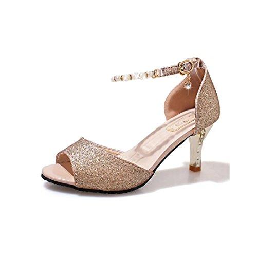 Supshark--Offene Sandalen für Damen mit Perlenriemen für Kleider, Hochzeiten, Party-Sandalen mit hohem Absatz (39 EU, Gold)