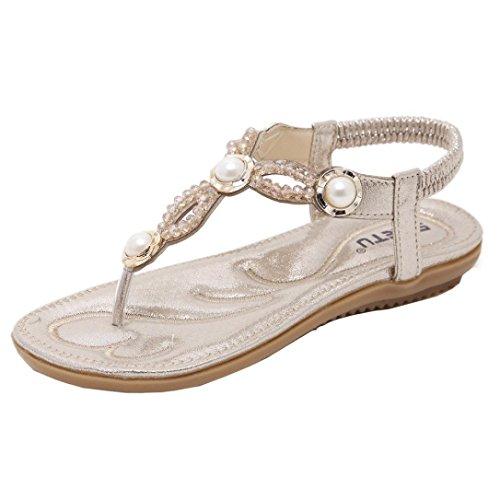 Zehentrenner, FEITONG Damen Sandalen Zehentrenner Bohemian Perlen Flach Sandaletten Sommer Strand Schuhe Mädchen Peep-Toe Outdoor Schuhe (EU 36// Label CN Größe 37, Gold)