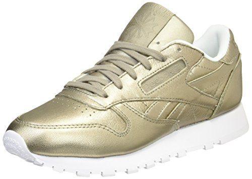 Reebok Classic Leather L Damen Niedrig Schuhe, Gold (Pearl Met-Grey Gold/White), 40 EU