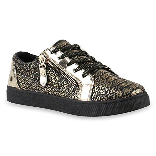 Damen Sneakers Lack Sneaker Low Zipper Prints Freizeit Sport Damen Leder-Optik Schuhe 142835 Gold Autol Reißverschluss 38 Flandell