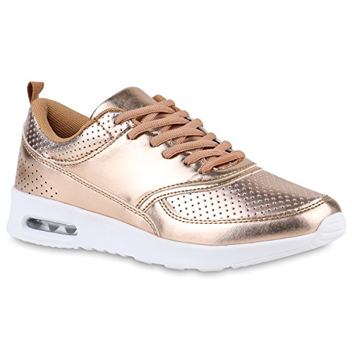Damen Sport Runners Sneakers Lauf Fitness Trendfarben Sportliche Schnürer Schuhe 142949 Rose Gold 39 Flandell