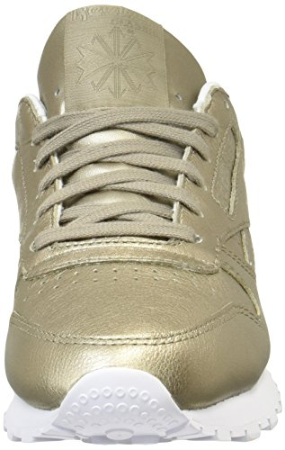 Reebok Classic Leather L Damen Niedrig Schuhe, Gold (Pearl Met-Grey Gold/White), 40 EU