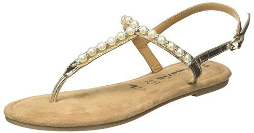 Tamaris Damen 28158 Slingback Sandalen, Gold (Light Gold), 38 EU