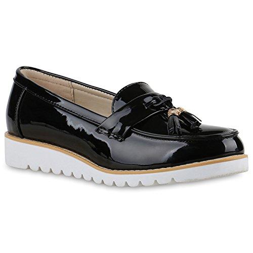 Damen Slipper Lack Plateau Loafers Metallic Loafer Flats Glitzer Slippers Quasten Lochung Schuhe 136591 Black Lack 40 Flandell