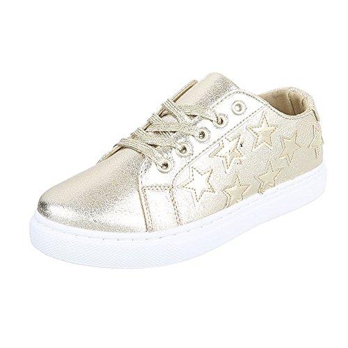 Ital-Design Low-Top Sneaker Damen-Schuhe Low-Top Sneakers Schnürsenkel Freizeitschuhe Gold, Gr 37, 6711-Y-