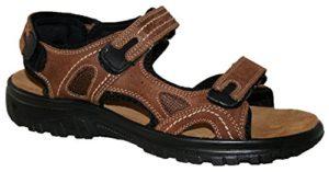 Herren Obermaterial Leder lässt Sandale, mit Kreuz vorne und gepolstertem Innensohle, Größe 8 UK / EU 42, Farbe braunes leder