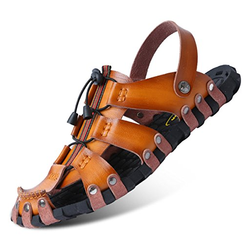 Herren Slide Geschlossene Sandalen Leder Freizeit Hausschuhe Outdoor Sommer Strand Pantolette, Gelb, 40 EU