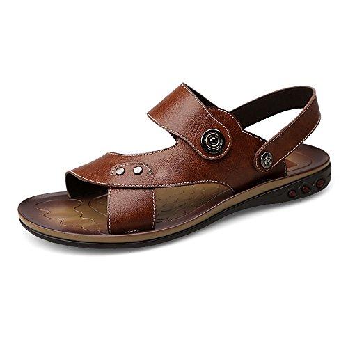 Juans-shoes, Herren sandalen, Echtes Rindsleder-Strand-Hefterzufuhren der Männer beiläufige rutschfeste Sandelholze beschuht justierbares Backless (Color : Brown, Size : 45 EU)