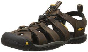 Keen Herren Clearwater CNX Leather Sandalen,Braun (Dark Earth/Black 0), 41 EU