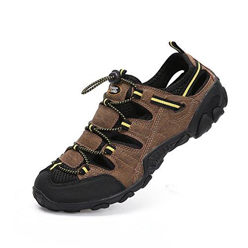 Sandalen Herren Leder Geschlossen Trekkingsandalen Sommer Schuhe Männer Outdoor Wander Trekkingschuhe Sport Retro Braun 41